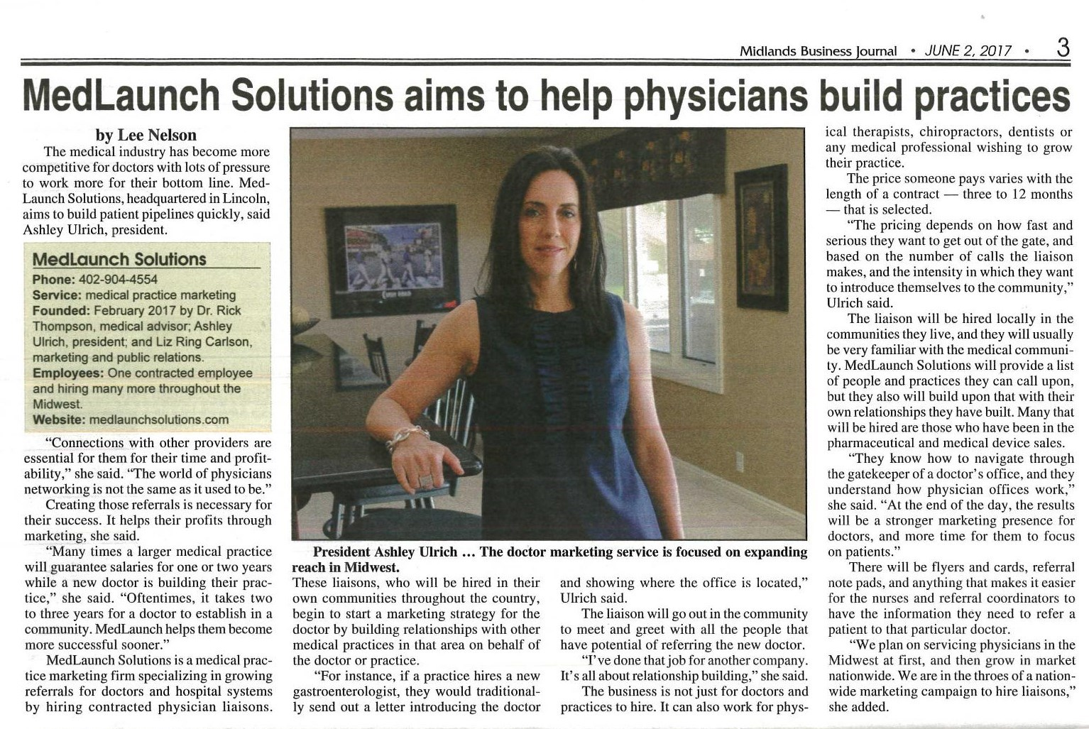 """, Lincoln Business Journal – """"MedLaunch Solutions aims to help physicians build practices"""""""